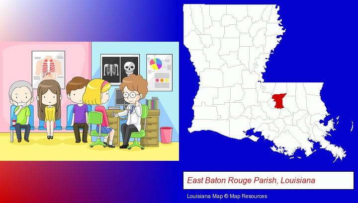 a clinic, showing a doctor and four patients; East Baton Rouge Parish, Louisiana highlighted in red on a map