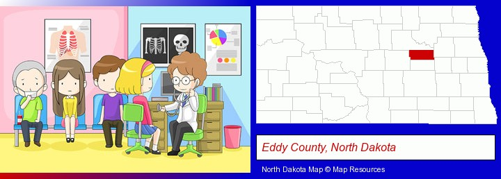 a clinic, showing a doctor and four patients; Eddy County, North Dakota highlighted in red on a map