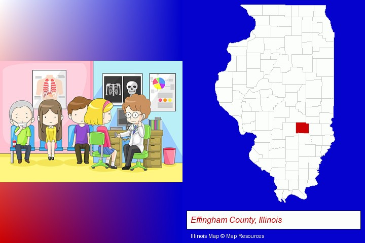 a clinic, showing a doctor and four patients; Effingham County, Illinois highlighted in red on a map