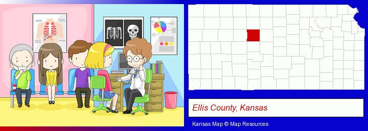 a clinic, showing a doctor and four patients; Ellis County, Kansas highlighted in red on a map