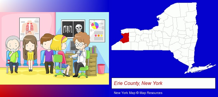 a clinic, showing a doctor and four patients; Erie County, New York highlighted in red on a map