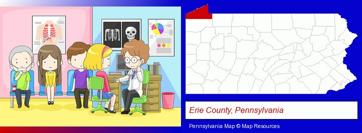 a clinic, showing a doctor and four patients; Erie County, Pennsylvania highlighted in red on a map