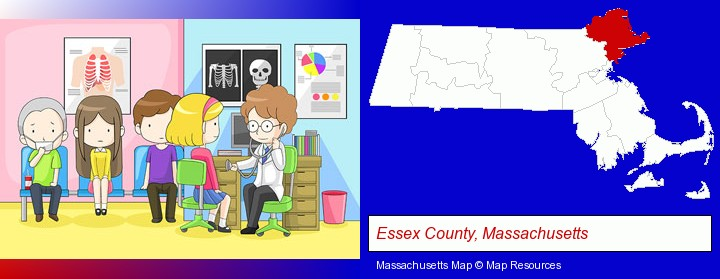 a clinic, showing a doctor and four patients; Essex County, Massachusetts highlighted in red on a map
