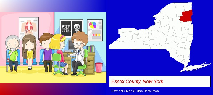 a clinic, showing a doctor and four patients; Essex County, New York highlighted in red on a map