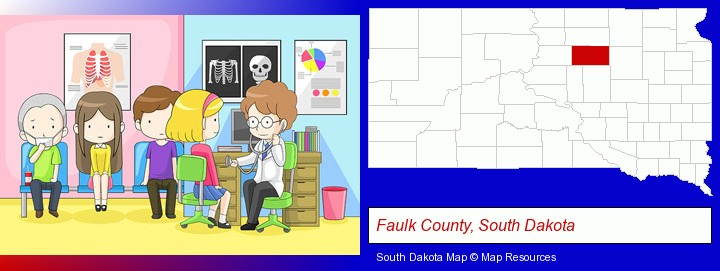 a clinic, showing a doctor and four patients; Faulk County, South Dakota highlighted in red on a map