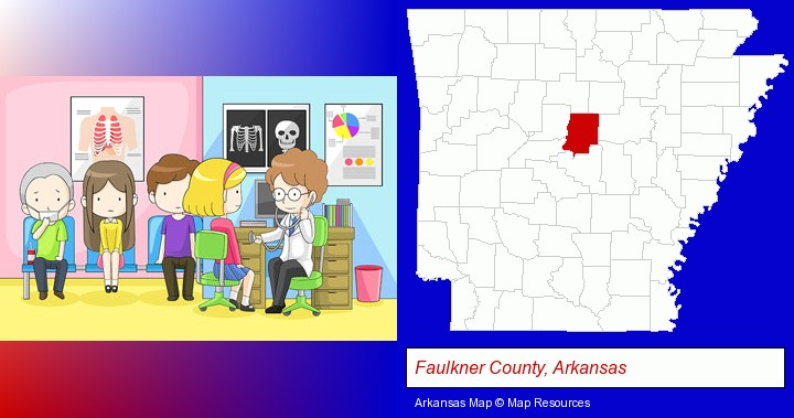 a clinic, showing a doctor and four patients; Faulkner County, Arkansas highlighted in red on a map