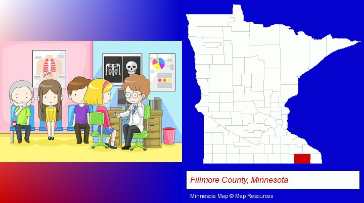 a clinic, showing a doctor and four patients; Fillmore County, Minnesota highlighted in red on a map