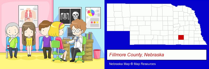 a clinic, showing a doctor and four patients; Fillmore County, Nebraska highlighted in red on a map