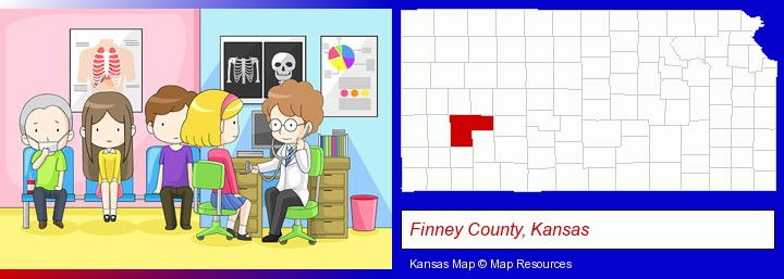 a clinic, showing a doctor and four patients; Finney County, Kansas highlighted in red on a map
