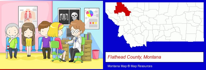 a clinic, showing a doctor and four patients; Flathead County, Montana highlighted in red on a map