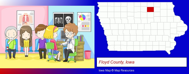 a clinic, showing a doctor and four patients; Floyd County, Iowa highlighted in red on a map
