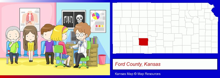 a clinic, showing a doctor and four patients; Ford County, Kansas highlighted in red on a map