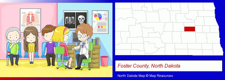a clinic, showing a doctor and four patients; Foster County, North Dakota highlighted in red on a map