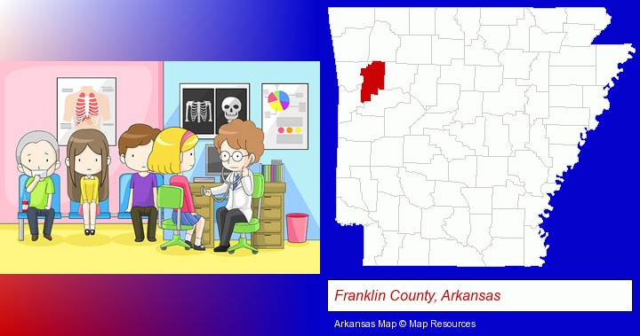 a clinic, showing a doctor and four patients; Franklin County, Arkansas highlighted in red on a map