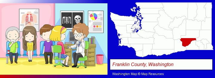 a clinic, showing a doctor and four patients; Franklin County, Washington highlighted in red on a map
