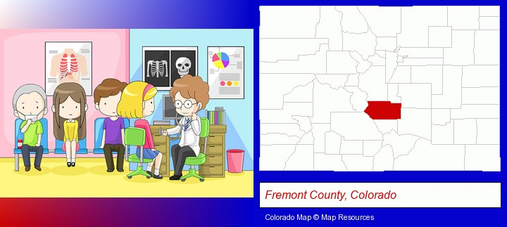 a clinic, showing a doctor and four patients; Fremont County, Colorado highlighted in red on a map
