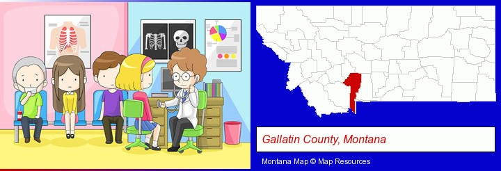 a clinic, showing a doctor and four patients; Gallatin County, Montana highlighted in red on a map