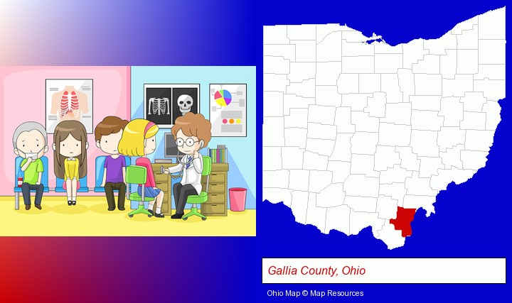 a clinic, showing a doctor and four patients; Gallia County, Ohio highlighted in red on a map