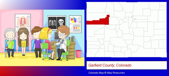 a clinic, showing a doctor and four patients; Garfield County, Colorado highlighted in red on a map