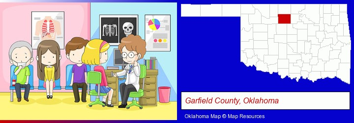 a clinic, showing a doctor and four patients; Garfield County, Oklahoma highlighted in red on a map
