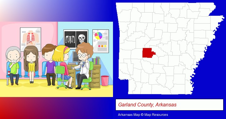 a clinic, showing a doctor and four patients; Garland County, Arkansas highlighted in red on a map