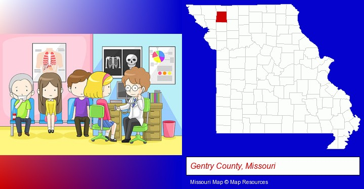a clinic, showing a doctor and four patients; Gentry County, Missouri highlighted in red on a map