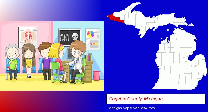 a clinic, showing a doctor and four patients; Gogebic County, Michigan highlighted in red on a map