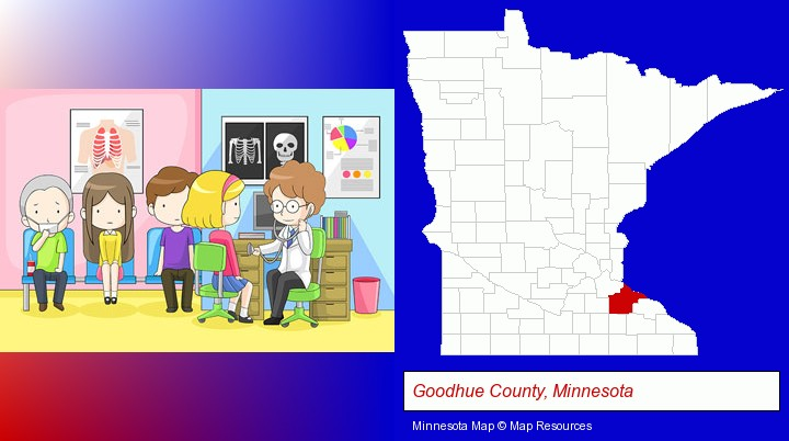 a clinic, showing a doctor and four patients; Goodhue County, Minnesota highlighted in red on a map