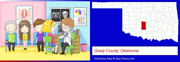 a clinic, showing a doctor and four patients; Grady County, Oklahoma highlighted in red on a map