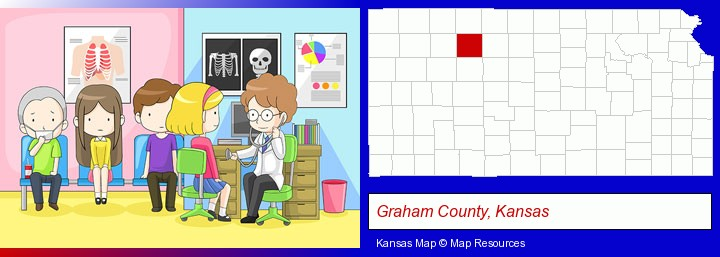 a clinic, showing a doctor and four patients; Graham County, Kansas highlighted in red on a map