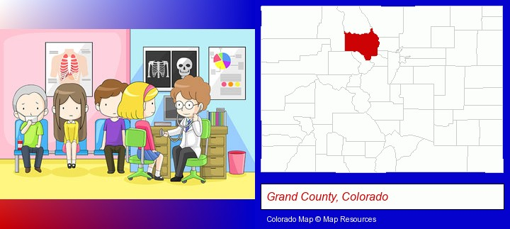 a clinic, showing a doctor and four patients; Grand County, Colorado highlighted in red on a map