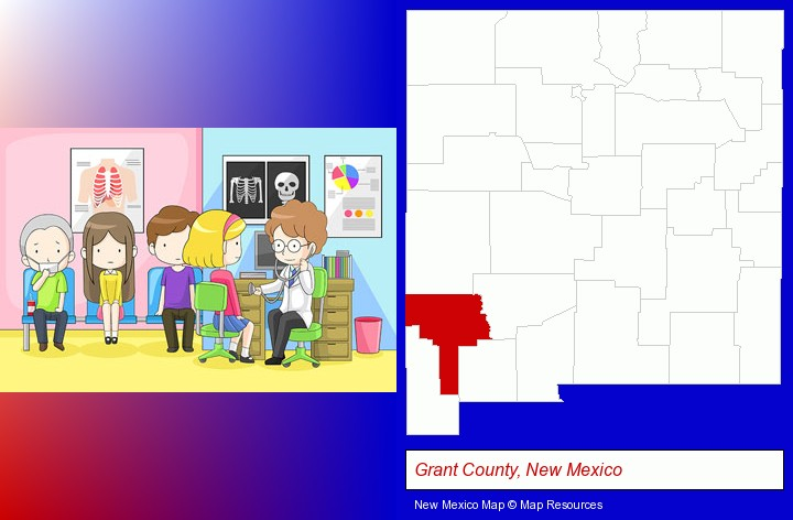 a clinic, showing a doctor and four patients; Grant County, New Mexico highlighted in red on a map