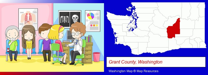 a clinic, showing a doctor and four patients; Grant County, Washington highlighted in red on a map