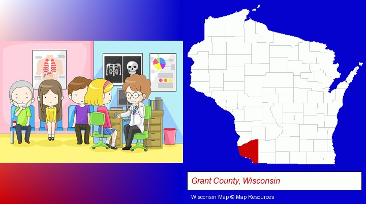 a clinic, showing a doctor and four patients; Grant County, Wisconsin highlighted in red on a map