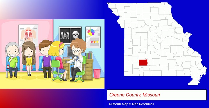 a clinic, showing a doctor and four patients; Greene County, Missouri highlighted in red on a map
