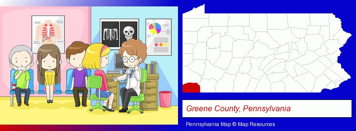 a clinic, showing a doctor and four patients; Greene County, Pennsylvania highlighted in red on a map