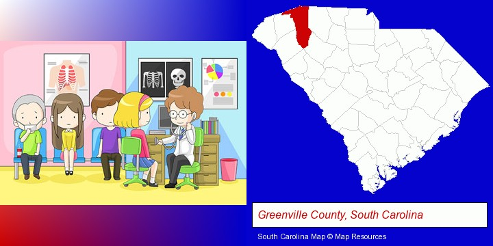 a clinic, showing a doctor and four patients; Greenville County, South Carolina highlighted in red on a map