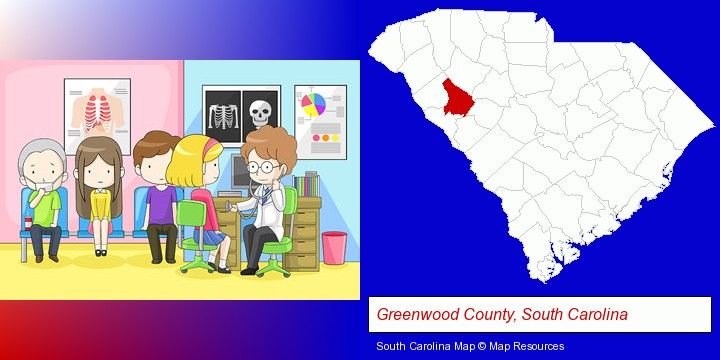 a clinic, showing a doctor and four patients; Greenwood County, South Carolina highlighted in red on a map