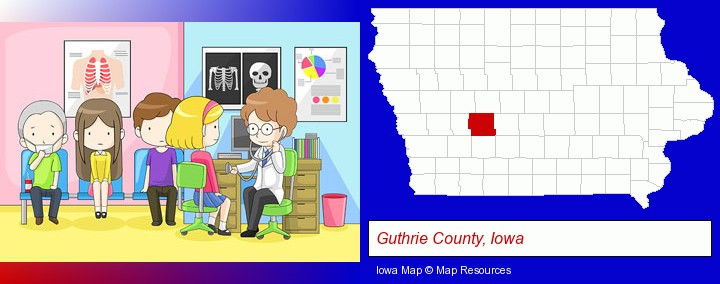 a clinic, showing a doctor and four patients; Guthrie County, Iowa highlighted in red on a map