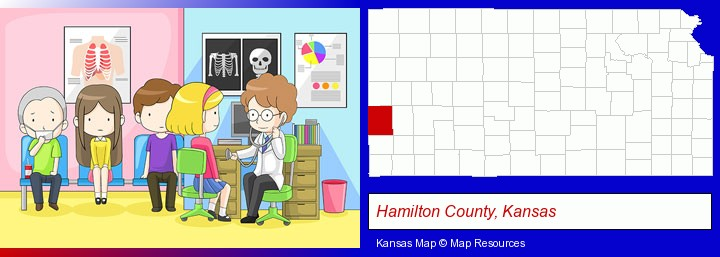 a clinic, showing a doctor and four patients; Hamilton County, Kansas highlighted in red on a map