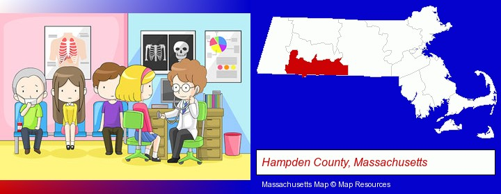 a clinic, showing a doctor and four patients; Hampden County, Massachusetts highlighted in red on a map