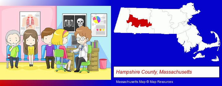 a clinic, showing a doctor and four patients; Hampshire County, Massachusetts highlighted in red on a map