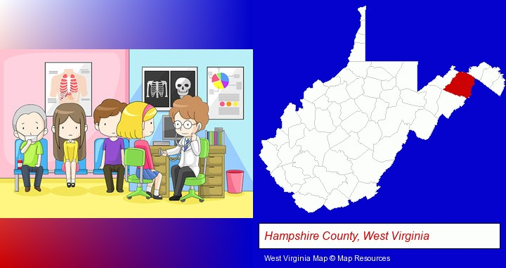 a clinic, showing a doctor and four patients; Hampshire County, West Virginia highlighted in red on a map