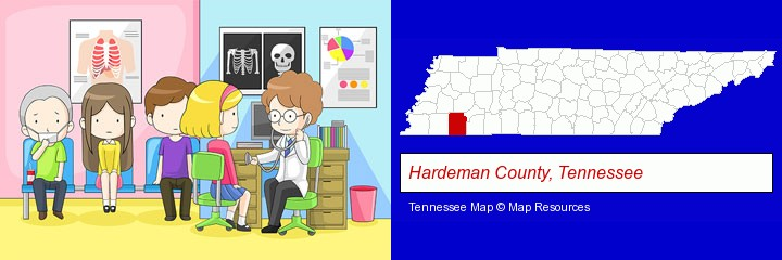 a clinic, showing a doctor and four patients; Hardeman County, Tennessee highlighted in red on a map