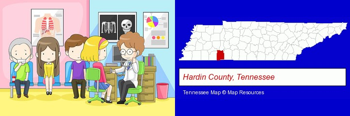 a clinic, showing a doctor and four patients; Hardin County, Tennessee highlighted in red on a map