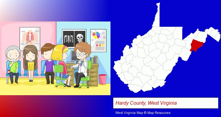 a clinic, showing a doctor and four patients; Hardy County, West Virginia highlighted in red on a map