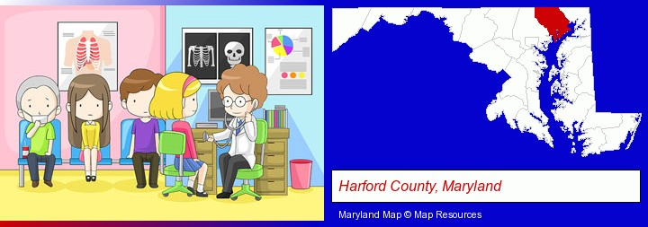 a clinic, showing a doctor and four patients; Harford County, Maryland highlighted in red on a map