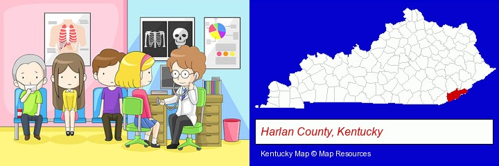 a clinic, showing a doctor and four patients; Harlan County, Kentucky highlighted in red on a map
