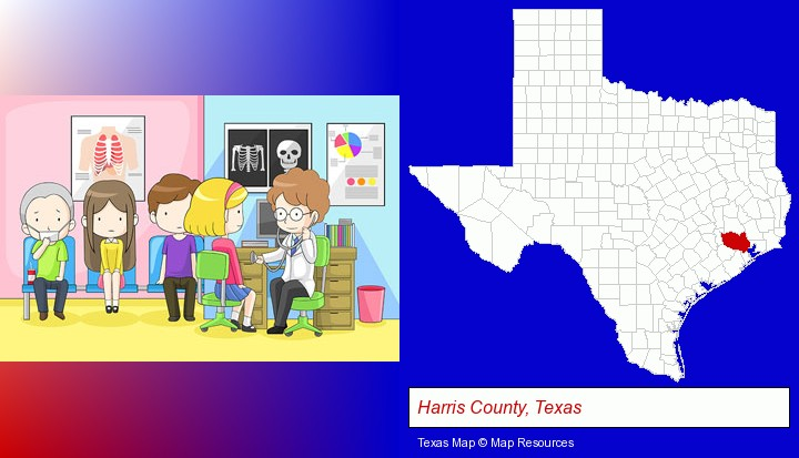 a clinic, showing a doctor and four patients; Harris County, Texas highlighted in red on a map