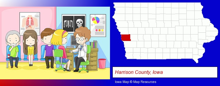 a clinic, showing a doctor and four patients; Harrison County, Iowa highlighted in red on a map